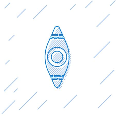 Blue line Kayak and paddle icon isolated on white background. Kayak and canoe for fishing and tourism. Outdoor activities. Vector Illustration