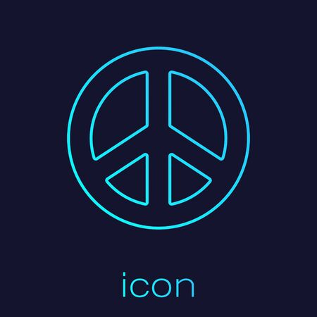 Turquoise line Peace icon isolated on blue background. Hippie symbol of peace. Vector Illustration