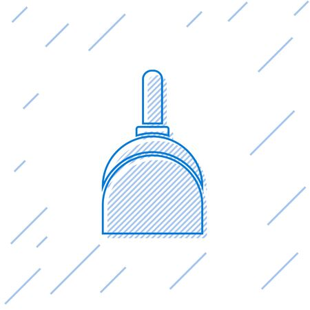 Blue line Dustpan icon isolated on white background. Cleaning scoop services. Vector Illustration
