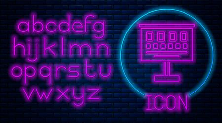 Glowing neon Eye test chart icon isolated on brick wall background. Poster for vision testing in ophthalmic study. Snellen chart. Neon light alphabet. Vector Illustration