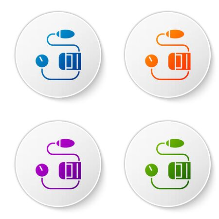 Color Blood pressure icon isolated on white background. Set icons in circle buttons. Vector Illustration