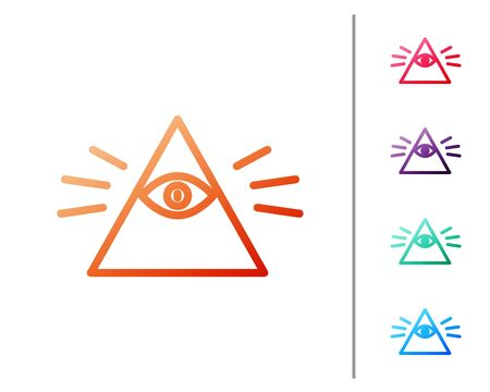 Red line Masons symbol All-seeing eye of God icon isolated on white background. The eye of Providence in the triangle. Set color icons. Vector Illustration  イラスト・ベクター素材
