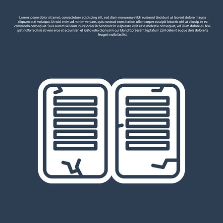 Blue line The commandments icon isolated on blue background. Gods law concept. Vector Illustration Illustration
