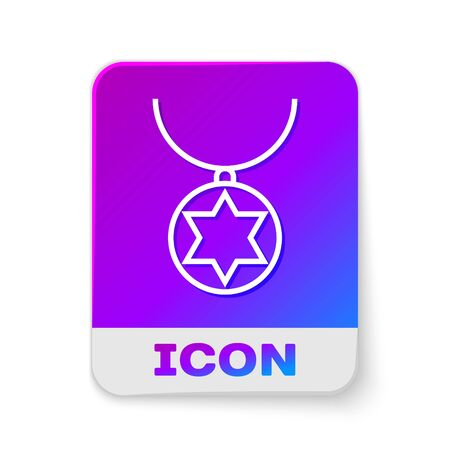 White line Star of David necklace on chain icon isolated on white background. Jewish religion. Symbol of Israel. Jewellery and accessory. Rectangle color button. Vector Illustration