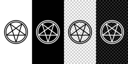 Set line Pentagram in a circle icon isolated on black and white background. Magic occult star symbol. Vector Illustration
