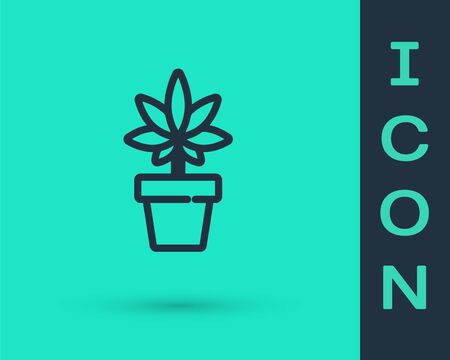 Black line Medical marijuana or cannabis plant in pot icon isolated on green background. Marijuana growing concept. Hemp potted plant. Vector Illustration