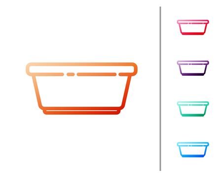 Red line Plastic basin icon isolated on white background. Bowl with water. Washing clothes, cleaning equipment. Set color icons. Vector Illustration