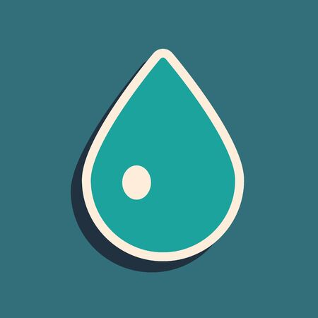 Green Water drop icon isolated on green background. Long shadow style. Vector Illustration Vecteurs