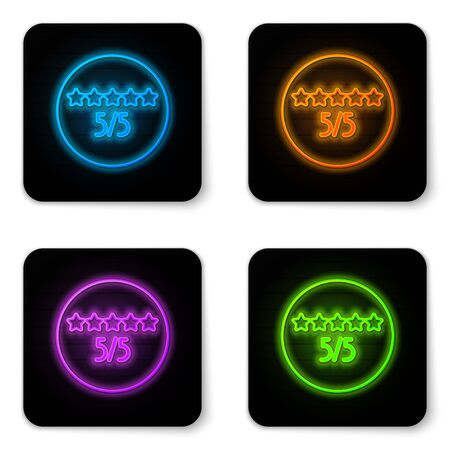 Glowing neon Consumer or customer product rating icon isolated on white background. Black square button. Vector Illustration