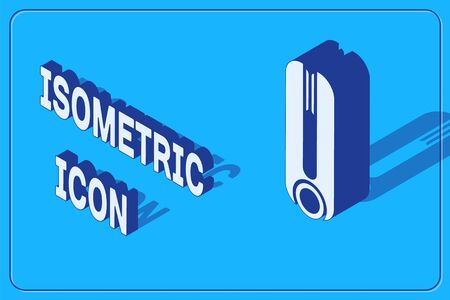 Isometric Curling iron for hair icon isolated on blue background. Hair straightener icon. Vector Illustration