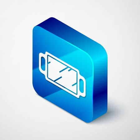 Isometric Hand mirror icon isolated on grey background. Blue square button. Vector Illustration