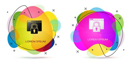 Color Secure your site with HTTPS, SSL icon isolated on white background. Internet communication protocol. Abstract banner with liquid shapes. Vector Illustration