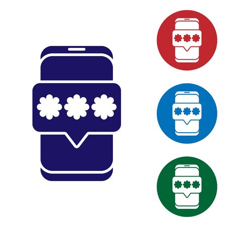 Blue Mobile and password protection icon isolated on white background. Security, safety, personal access, user authorization, privacy. Set icons in color square buttons. Vector Illustration
