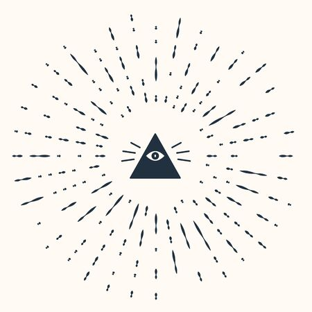 Grey Masons symbol All-seeing eye of God icon isolated on beige background. The eye of Providence in the triangle. Abstract circle random dots. Vector Illustration