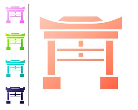 Coral Japan Gate icon isolated on white background. Torii gate sign. Japanese traditional classic gate symbol. Set color icons. Vector Illustration