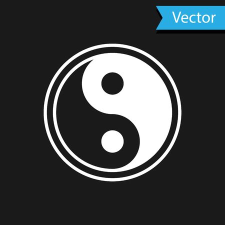 White Yin Yang symbol of harmony and balance icon isolated on black background. Vector Illustration 矢量图像