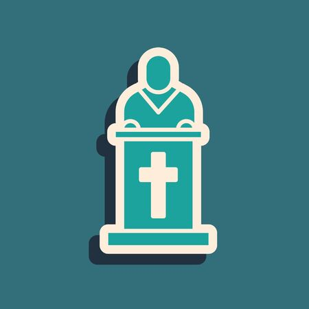 Green Church pastor preaching icon isolated on green background. Long shadow style. Vector Illustration