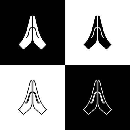Set Hands in praying position icon isolated on black and white background. Prayer to god with faith and hope. Vector Illustration