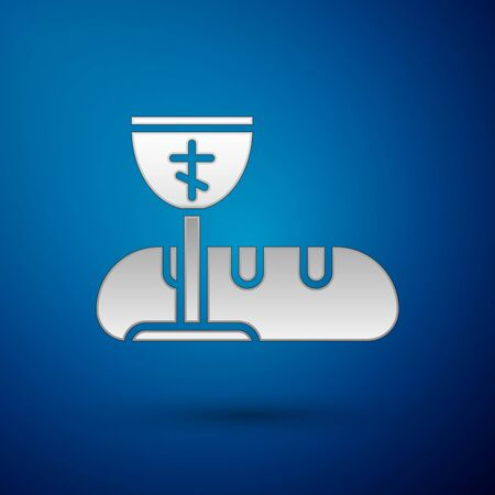 Silver First communion symbols for a nice invitation icon isolated on blue background. Vector Illustration