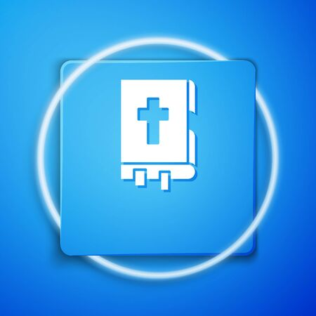White Holy bible book icon isolated on blue background. Blue square button. Vector Illustration