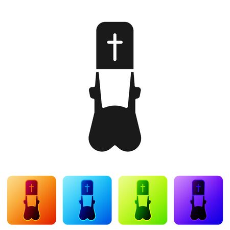 Black Priest icon isolated on white background. Set icons in color square buttons. Vector Illustration