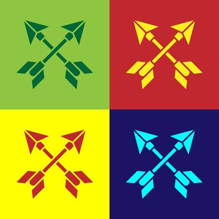 Pop art Crossed arrows icon isolated on color background. Vector Illustration Vektorové ilustrace