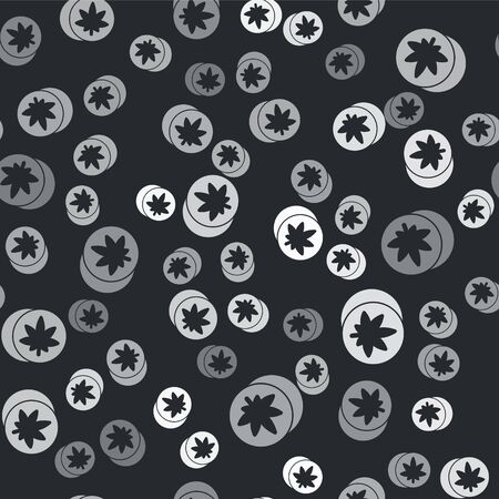 Grey Herbal ecstasy tablets icon isolated seamless pattern on black background. Vector Illustration