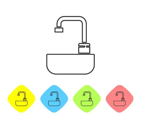 Grey line Washbasin with water tap icon isolated on white background. Set icons in color rhombus buttons. Vector Illustration