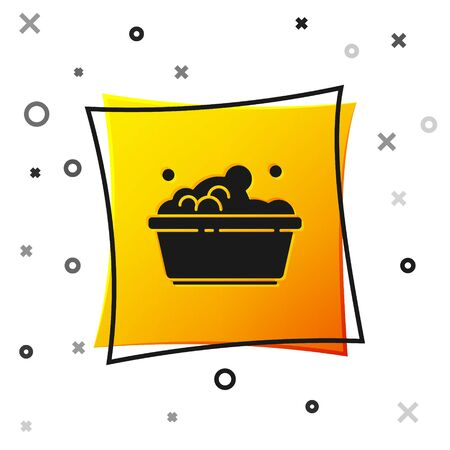 Black Plastic basin with soap suds icon isolated on white background. Bowl with water. Washing clothes, cleaning equipment. Yellow square button. Vector Illustration Ilustração