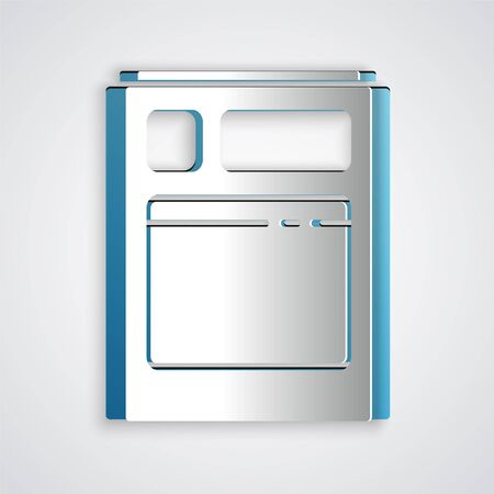 Paper cut Kitchen dishwasher machine icon isolated on grey background. Paper art style. Vector Illustration
