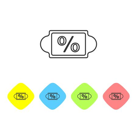 Grey line Discount percent tag icon isolated on white background. Shopping tag sign. Special offer sign. Discount coupons symbol. Set icons in color rhombus buttons. Vector Illustration