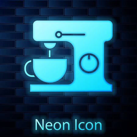 Glowing neon Electric mixer icon isolated on brick wall background. Kitchen blender. Vector Illustration