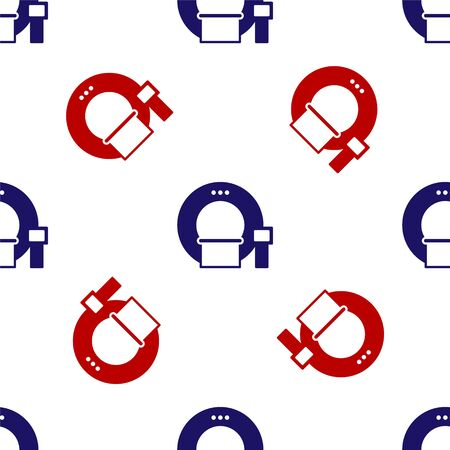Blue and red Tomography icon isolated seamless pattern on white background. Medical scanner, radiation. Diagnosis, radiology, magnetic resonance therapy. Vector Illustration