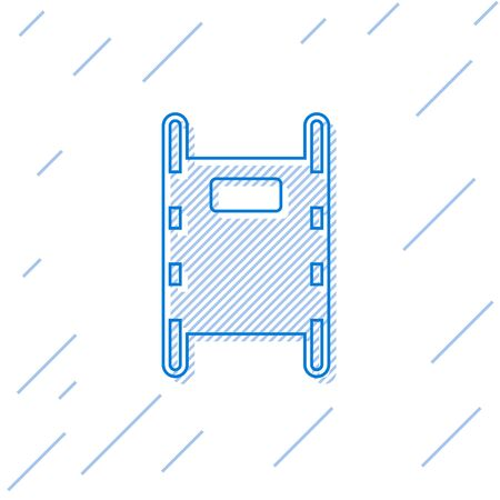 Blue line Stretcher icon isolated on white background. Patient hospital medical stretcher.  Vector Illustration Stock Illustratie