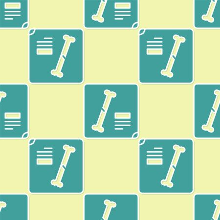 Green X-ray shots icon isolated seamless pattern on yellow background. Vector Illustration
