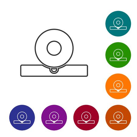 Black line Otolaryngological head reflector icon isolated on white background. Equipment for inspection the patients ear, throat and nose. Set icons in color circle buttons. Vector Illustration