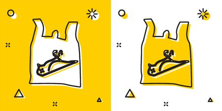 Black Dead bird, plastic icon isolated on yellow and white background. Element of pollution problems sign. Random dynamic shapes. Vector Illustration Illustration