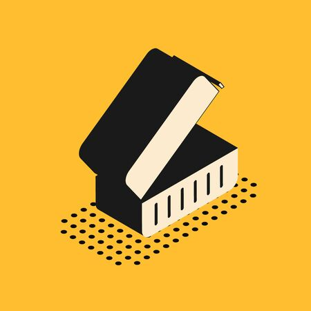 Isometric Lunch box icon isolated on yellow background. Vector Illustration