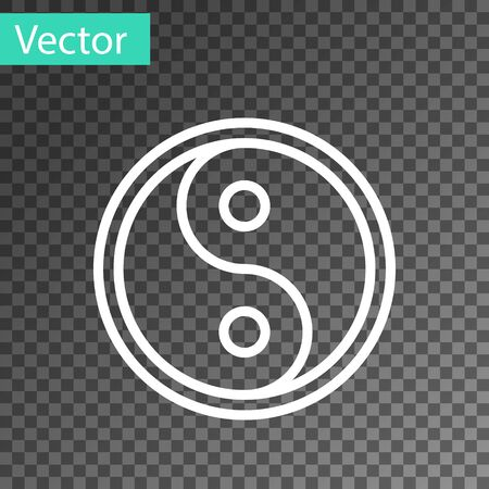 White line Yin Yang symbol of harmony and balance icon isolated on transparent background.  Vector Illustration
