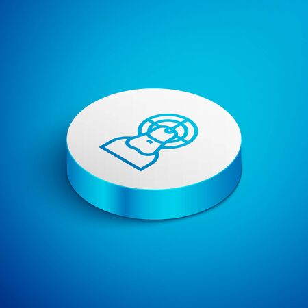 Isometric line Jesus Christ icon isolated on blue background. White circle button. Vector Illustration
