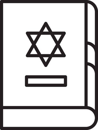 Black line Jewish torah book icon isolated on white background. On the cover of the Bible is the image of the Star of David. Vector Illustration