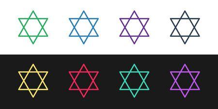 Set line Star of David icon isolated on black and white background. Jewish religion symbol. Symbol of Israel. Vector Illustration 向量圖像