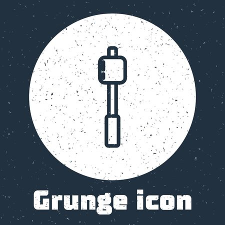 Grunge line Marshmallow on stick icon isolated on grey background. Monochrome vintage drawing. Vector Illustration