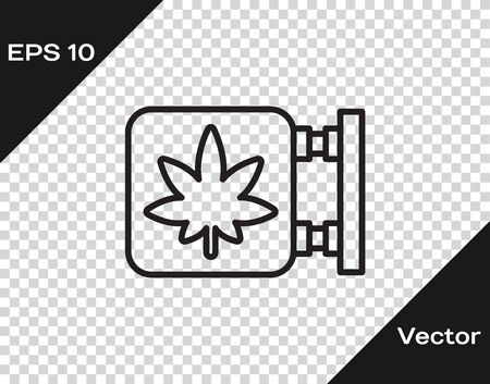 Black line Marijuana and cannabis store icon isolated on transparent background. Equipment and accessories for smoking, storing medical cannabis. Vector Illustration