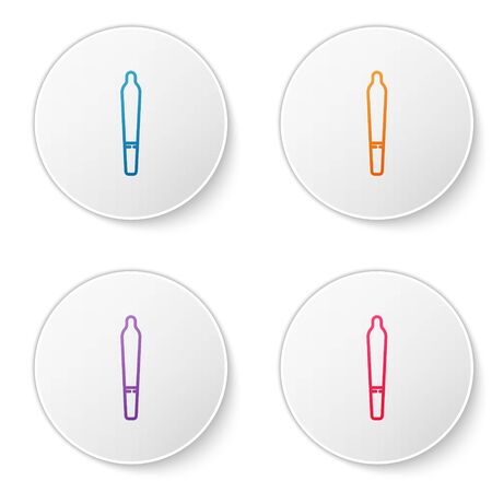 Color line Marijuana joint, spliff icon isolated on white background. Cigarette with drug, marijuana cigarette rolled. Set icons in circle buttons. Vector Illustration