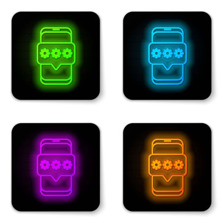 Glowing neon line Mobile and password protection icon isolated on white background. Security, safety, personal access, user authorization, privacy. Black square button. Vector Illustration