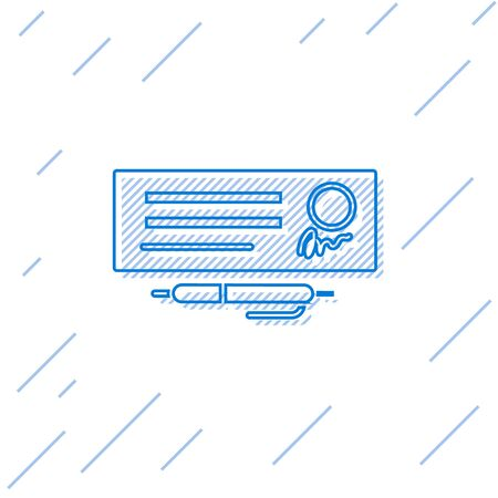 Blue line Blank template of the bank check and pen icon isolated on white background. Checkbook cheque page with empty fields to fill.  Vector Illustration