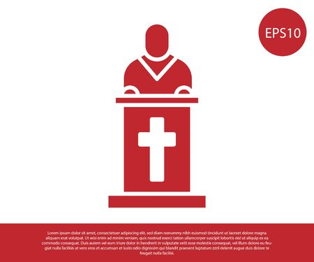 Red Church pastor preaching icon isolated on white background. Vector Illustration