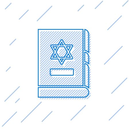 Blue line Jewish torah book icon isolated on white background. On the cover of the Bible is the image of the Star of David. Vector Illustration