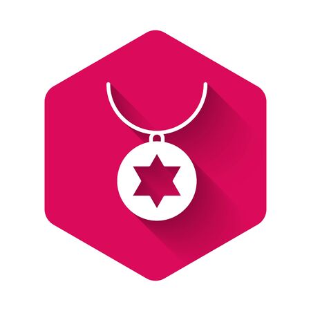 White Star of David necklace on chain icon isolated with long shadow. Jewish religion. Symbol of Israel. Jewellery and accessory. Pink hexagon button. Vector Illustration